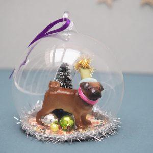 Pug Globe Ornament