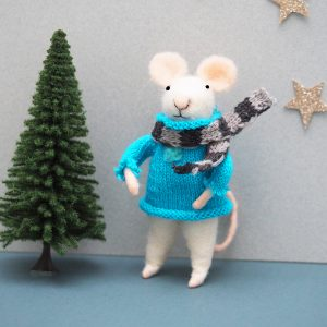 Felt Mouse with Blue Jumper Decoration