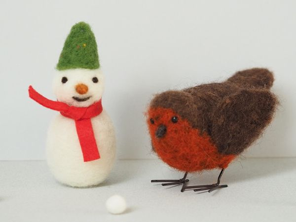 Snowman and Robin Needle Felting Workshop