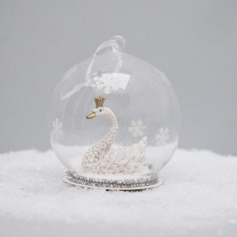 White Swan Globe Ornament