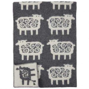 Grey Sheep Pattern Lambswool Blanket