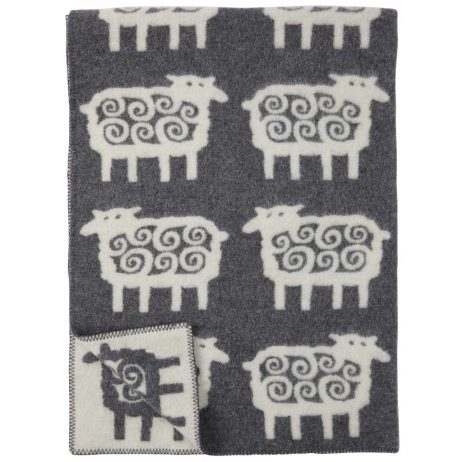 Grey Sheep Pattern Lambswool Blanket