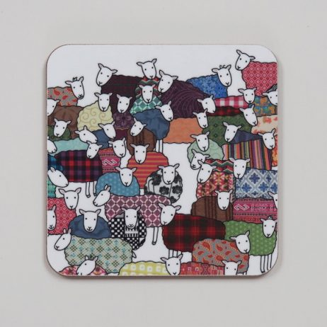 Colourful Sheep Coaster by Mary Kilvert