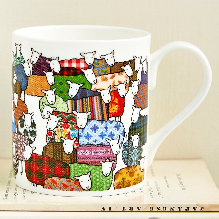 Colourful Sheep Mug by Mary Kilvert