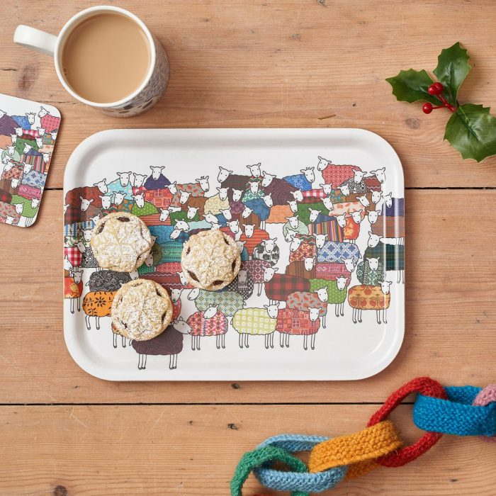 Colourful Sheep Tray and Coaster in Christmas setting by Mary Kilvert