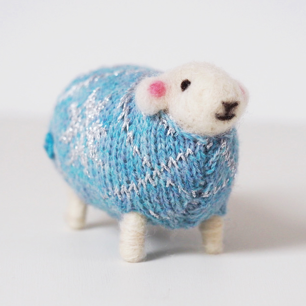 Snowflake Felted Sheep in Christmas Jumper by Mary Kilvert