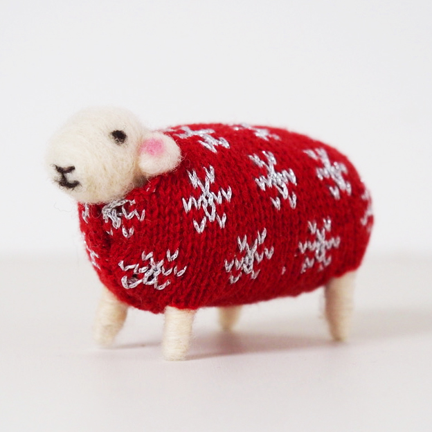 Star Felted Sheep in Christmas Jumper by Mary Kilvert