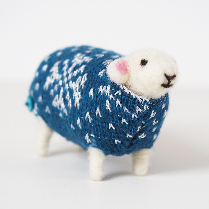 Sparkle Felted Sheep in Christmas Jumper by Mary Kilvert