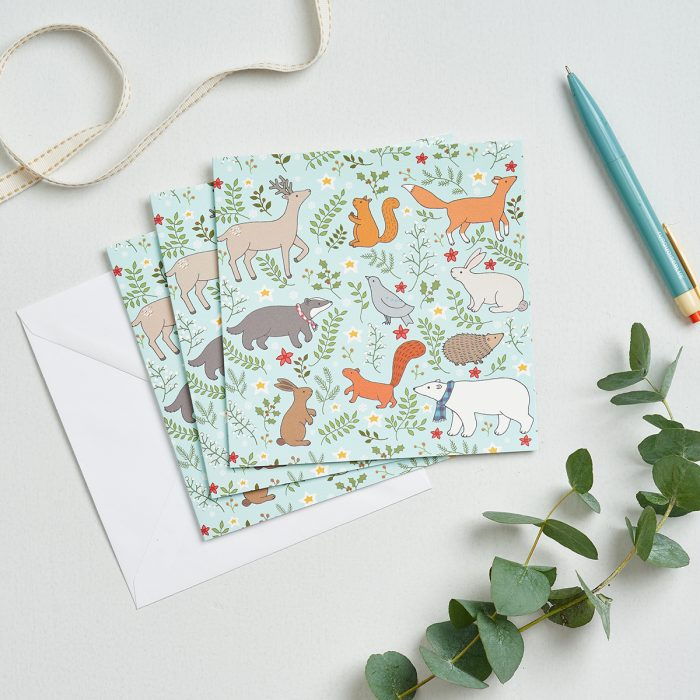 Winter Woodland Christmas Greeting Card by Mary Kilvert
