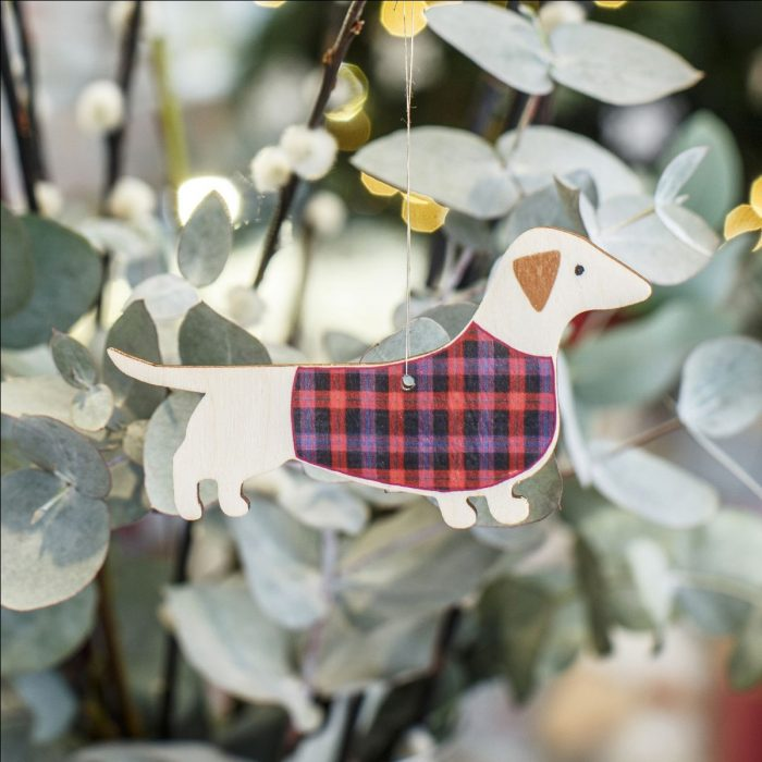 Dashing Dachshund Wooden Christmas Decoration by Mary Kilvert