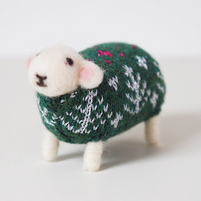 Emerald Felted Sheep in Christmas Jumper by Mary Kilvert