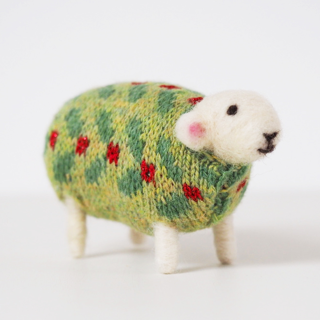 Holly Felted Sheep in Christmas Jumper by Mary Kilvert