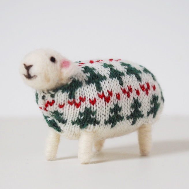 Little Tree Felted Sheep in Christmas Jumper by Mary Kilvert
