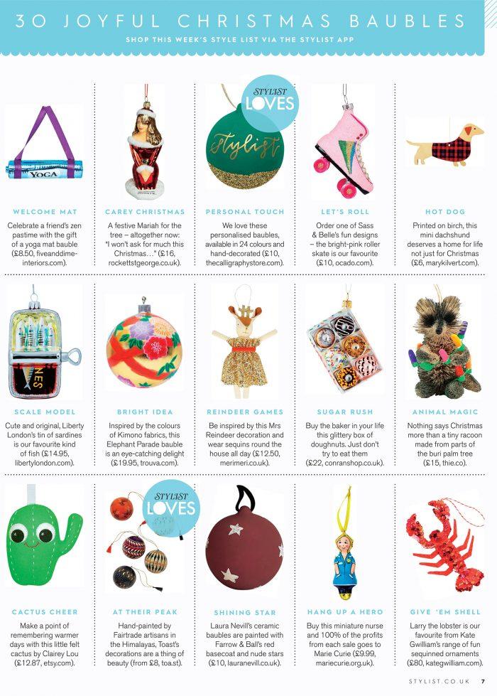 Stylist Magazines 30 Joyful Christmas Baubles Christmas Gift Guide