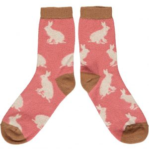 Rabbit Ankle Socks in Blush and Oat