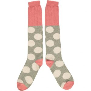 Lambswool Large Spot Knee Socks - Blush & Sage