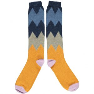 Lambswool Zig Zag Knee Socks - Navy by Catherine Tough