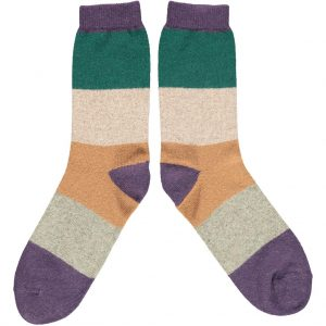 Lambswool Purple Block Ankle Socks by Catherine Tough
