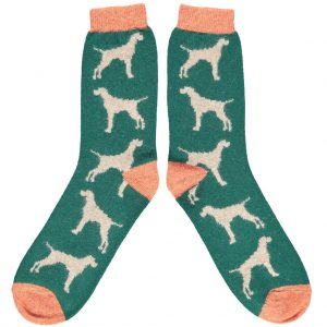 Lambswool Hound Ankle Socks in Green by Catherine Tough