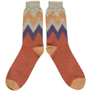 Lambswool ZigZag Ankle Socks in Terracotta by Catherine Tough