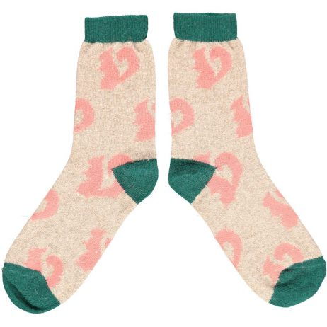 Lambswool Squirrel Ankle Socks - Pink