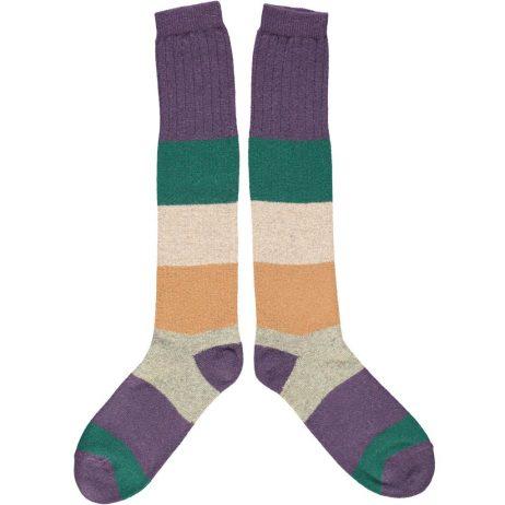 Lambswool Purple Block Knee Socks by Catherine Tough