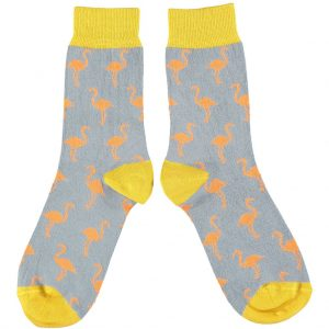 Cotton Grey & Coral Flamingo Ankle Socks by Catherine Tough