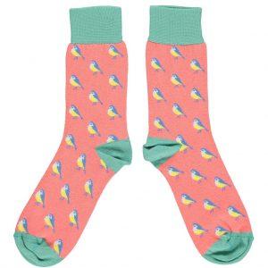 Organic Cotton Coral & Jade Blue Tit Ankle Socks