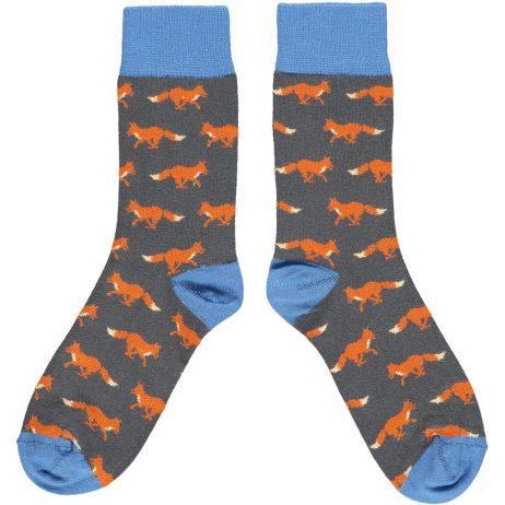 Cotton Slate & Denim Fox Ankle Socks by Catherine Tough