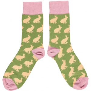 Organic Cotton Green & Peach Rabbit Ankle Socks