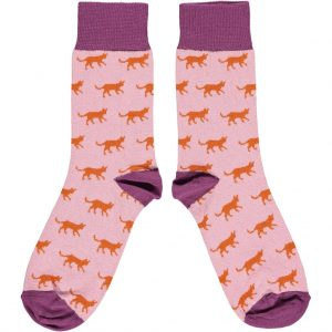 Organic Cotton Light Pink and Aubergine Cats Ankle Socks (UK 4-7)