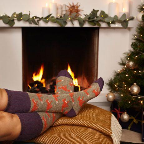 Lambswool Running Fox Knee Socks by Catherine Tough