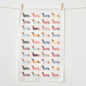 Dashing Dachshund Tea Towel - Mary Kilvert