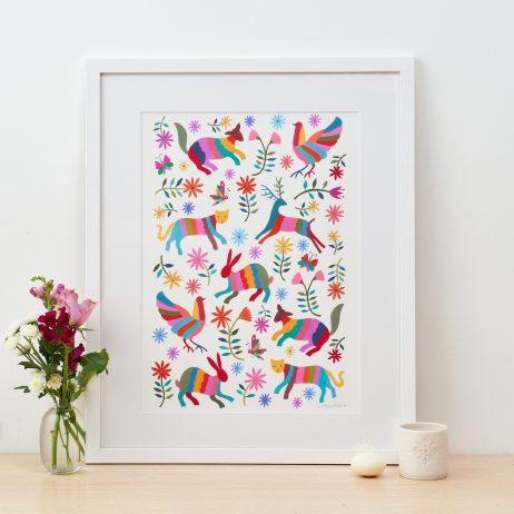 Otomi Animals Fine Art Print by Mary Kilvert