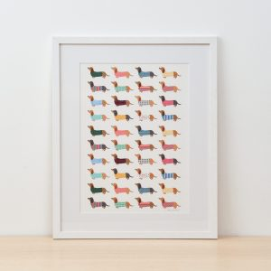 Dashing Dachshunds Fine Art Print by Mary Kilvert