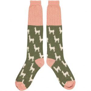 Lambswool Khaki Green Llama Knee Socks - Catherine Tough
