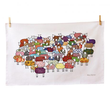 Flock of Colourful Sheep Tea Towel by Mary Kilvert